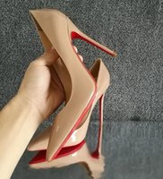 Wholesale Dress Shoes Bag - 2018 Women Shoes Red Bottoms High Heels Sexy Pointed Toe Red Sole 8cm 10cm 12cm Pumps Come With Logo dust bags Wedding shoes