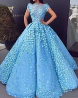 robes de soirée décolleté floral achat en gros de-Major Pearls robes de bal pure décolleté Bateau 3D Floral Appliques mancherons Robes de soirée formelles robes de quinceanera de célébrité du pays