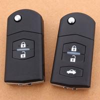 cuchillas de mazda al por mayor-2/3 Botones Plegable Remoto Flip Key Case Shell Fob Smart Car Key Carcasa para Mazda 2 3 5 6 RX8 MX5 Hoja sin cortar