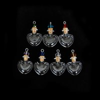 Wholesale Heart Shaped Glass Pendants - New Arrivals Wholesale Empty Crystal Perfume Bottles Necklace pendant Heart shaped glass wishing bottle Mini aromatherapy bottle