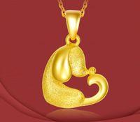 Wholesale 24k Pure Gold Necklaces - Pure 24K Yellow Gold Zodiac Heart Dog Pendant 3D designer animal pendant 2.6g