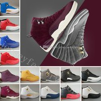Wholesale Low Lifestyle - 12 mens basketball shoes Bordeaux Dark Grey wool white GS Barons Flu Game UNC Gym red taxi gamma french blue Suede sneakers Sports shoes
