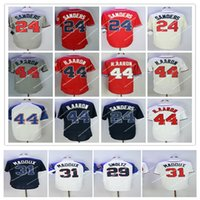 Wholesale wear baseball jersey men - Hot sale Men s retro baseball jerseys Hank Aaron Deion Sanders John Smoltz Retro jersey vintage high quality Baseball wear
