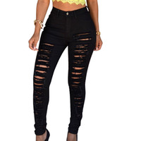 683fdfde0a62b Mode Déchiré Jeans Taille Haute Jeans Maigre Extensible Détruit Femmes  Pantalons Pantalons Pantalon Sexy Trou Femme Crayon Blanc Jean
