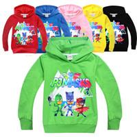 Wholesale Girls Clothing Coats - Kids Clothing Children Spring Clothing PJ Long Sleeve MASKS T-shirts Boys Girls Mask Hoodies Sweatshirts Cotton Coats