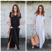 Wholesale Kaftan Dresses Wholesale - Women Short Sleeve V Neck Casual Loose Kaftan Vestido Ladies Asymmetrical Side Split Long Maxi Dress Solid Beach Sundress OOA4156