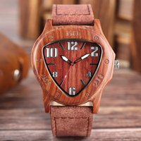 Wholesale Number Acrylic Watch - Retro Wood Watch Creative Inverted Geometric Triangle Shaped Big Numbers Cool Clock Male Genuine Leather Bamboo Wooden Wristwatch Top Gifts