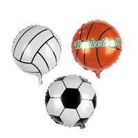 mundo dos brinquedos venda por atacado-Football Balloon Basketball Foil Balloons for world cup inflatable balloon Children Toys birthday Party Decoration balloon T2I237