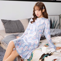 Knitted Cotton Nightgown Famale Sweet Girl Lounge Cute Nightdress Sleepwear  Long Sleeve Casual Nightrobe Women Pajamas 1736f7580