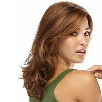 peruca encaracolado natural loira venda por atacado-Produtos de cabelo macio Moda-forward longa peruca com franja Synthetic Blonde curly perucas para mulheres Falso cabelo (cor: Loiro / Castanho Claro)