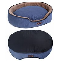 casa de cachorro azul venda por atacado-HOOPET Dog Bed Cat Dog Destacável Macia Aquecer All Season Azul Pet Sofá Cama Casa Rodada