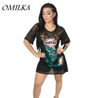 2e48be6c3880 OMILKA 2018 Estate Donna Manica corta O collo Paillettes Mermaid Abito in  maglia Sexy Nero Bianco Vedere attraverso Club Party Mini Dress