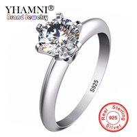 zirkonoxid-solitär-ringe großhandel-YHAMNI Fashion Original 100% 925 Silber Ringe Schmuck Natürliche 7mm Zirkonia Solitaire Hochzeit Ringe Für Frauen Geschenk L121