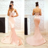 Wholesale bridesmaid discount - 2018 Discount Pink Mermaid Bridesmaid Dresses Sweetheart Backless Sweep Train Maid of Honor Gowns Formal Wedding Guest Dress