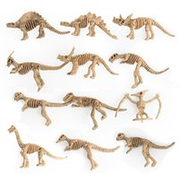 Wholesale plastic toy skeleton - 12Pcs SET Plastic Simulation Dinosaurs Skeleton Model Set Mini Dinosaur Model Figures Kids Educational Toys Party Favors Home Decor T2I389