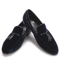 sapatas lisas do couro azul marinho venda por atacado-Borla De Couro Marinho Azul Handmade Sapatos Masculinos de Festa e Sapatos De Casamento Dos Homens Dos Homens de Veludo Mocassins Banquete Flats masculinos