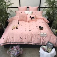 Wholesale Dog Print Bed Sheets   Egyptian Cotton Cartoon Dogs Print  Luxurious Bedding Sets Duvet Cover