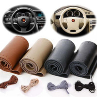 Wholesale Real Cowhide Leather Steering Wheel Cover With Needles Thread DIY black Hand Sewing Genuine leathers wrap free shippin