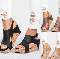 plattform keile sandalen frauen großhandel-Frauen Designer Sandalen Fischmund römische Mode High Heel Leder wasserdicht Plattform Schuh Sandale