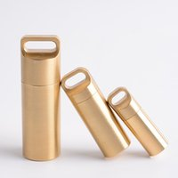 Wholesale capsule container resale online - Brass Waterproof Case Container Capsule Seal Bottle Holder Survival Emergency Tool Size X030