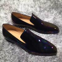 en iyi parti ayakkabıları toptan satış-Beyefendi Kırmızı Alt Karahindiba erkek Mocassin Ayakkabı En Kaliteli Oxford Siyah Deri Loafer'lar Lüks Parti Düğün Elbise Kutusu Ile