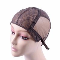 gorras de peluca de calidad al por mayor-Gorra de peluca para hacer pelucas con correa ajustable en la parte trasera. Gorra de tejido tamaño S / M / L. Tapas de peluca sin cola. Buena calidad.