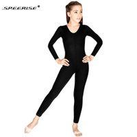 ingrosso costume pieno nero del bodysuit-SPEERISE Girls manica lunga nera Unitard Boys Body Spandex Lycra completo Body Tight Tuta Scoop Neck Costumi di danza Unitards