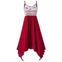 verschönerte kleider großhandel-Gamiss Frauen Sommer Spaghetti Strap Spitze Kleid Plus Size Asymmetrische Slip Sleeveless Strandkleid Vestidos Big 5XL