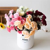 decoración de la habitación rosas al por mayor-Rosas artificiales falsificación flor para el partido de la boda de coches El matrimonio de decoración de interior bricolaje Garland decorativo del hogar flor falsa