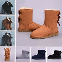 Wholesale snow boots for sale - 2018 Winter WGG Leather Women Australia Classic kneel half Boots Ankle boots UGS Black Grey chestnut navy blue red Womens girl boots