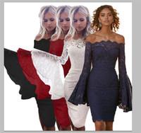 falda roja acampanada al por mayor-Vestidos de encaje de verano fuera de la manga del flare hombro partido sexy vestido de fiesta bodycon delgado más tamaño falda rojo negro 1800743
