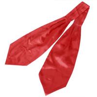 Wholesale Tuxedo Ascot Tie - HOT SALE!Satin Tuxedo Wedding Self Tie Ascot Cravat Necktie for Men - Red