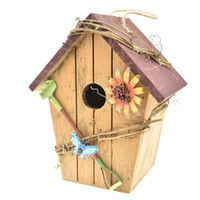 kuş evleri toptan satış-Ahşap Kuş Evi, Retro Sanat Ve El Sanatları Ülke Evler Kuş Evi Woodland Kabin Kuş Evi Açık Dekor Ve Iç ahşap ev Dekor
