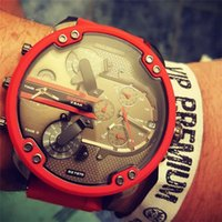 Wholesale Analog Alarm Clocks - Dual Clocks Working Mens Watches Sport Big Dial Top Brand Quartz Red Luxury Watch Full Stainless Steel band Auto Date Wristwatches For Men
