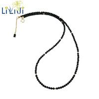 granat perlenketten großhandel-LiiJi einzigartige schwarze Spinesl, Labradorit, Süßwasserperle, Tansanite, Amazonit, Apatit, Granat, S925 Gold Farbe zarte Halskette