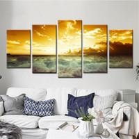 pintura a óleo imagem natureza venda por atacado-Natureza Paisagem Poster Sunset Wall Art Pintura A Óleo Modular Canvas Pictures para Sala de estar 5 Peças Sem Moldura