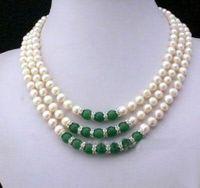 jade pérolas cultivadas venda por atacado-3 linhas 7-8 MM Real branco Akoya cultivada pérola verde Jade pingentes colar frete grátis