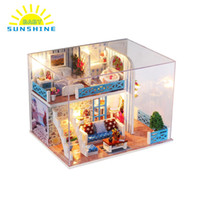Wholesale build wooden house online - NEW Miniature Super Mini Size Doll House Wooden Furniture Toys Model Building Kits Dollhouse Home of Helen Best Gifts for KIDS