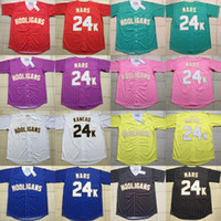 ingrosso pulsanti di cucito liberi-Mens Womens Youth Hooligans 24k Bruno Mars Bianco Awards Gessato Jersey 100% cucito Button Cucito Button Maglie da baseball Spedizione gratuita S-3XL
