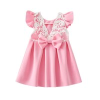 Wholesale Summer Kids Lace Backless Dress - Pink blue color Baby lace butterfly backless princess skirt with big bow kids party prom dress infant toddler baby girl summer dress clothes
