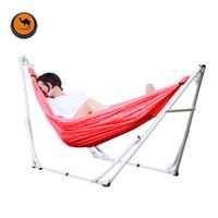Wholesale Iron Nets - Elastic Cloth Hammock with Iron Frame Indoor Outdoor Net Bed Camping Folding Swing Bracket Hammock