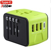 Wholesale wall outlet adapters - Universal All-in-one USB Travel Adapter Power Adapter with 3-port USB 1 Type C portable Charger Wall Outlet Plugs For business travel of US