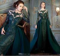 langarm-abendkleid smaragd großhandel-Modest Emerald Hunter Green Langarm Prom Abendkleider mit abnehmbaren Zug Luxus Spitze Perlen Meerjungfrau Abendgarderobe Kleid