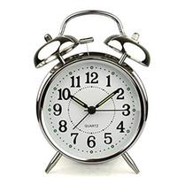 quartz alarm clock venda por atacado-Redcolourful 4-Inch Alarm Clock Com Alto Alarme e Nightlight Silencioso Quartz Relógio De Metal Inoxidável Bateria Operado