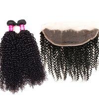 bakire saç kıvırcık kıvırcık ön toptan satış-9A Brezilyalı Bakire Saç Düz Vücut Dalga Gevşek Dalga Kinky Kıvırcık Derin Dalga 13X4 için Kulak Dantel Ön Kapatma ile Brezilyalı Bakire Saç