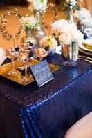 décorations de mariage millésime achat en gros de-Champagne Rose Or Paillettes Nappe De Mariage Fournitures De Mariage Décorations De Fête Vintage Brillant Table Tissu Sur Mesure tissu de Haute Qualité