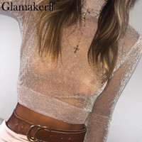 Wholesale sexy christmas top shirt for sale - Glamaker Transparent bright silk crop top Women sexy christmas mesh blouse shirt Female party club slim turtleneck blusas tops
