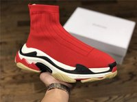 Wholesale paris design - 2018 Luxury Paris Lady Sock Casual Shoes Stretch knit Mid Sports Shoes Bal GA DAD Design Speed Trainer Casual Sock Shoes