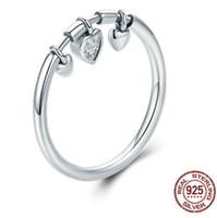 weibliche 925 silberne verlobungsringe großhandel-Luxus Schmuck 925 Sterling Silber glitzernden Herzen klar CZ Anel weiblichen Ring Frauen Hochzeit Engagement Schmuck