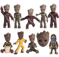 guardiões filme galáxia venda por atacado-Guardiões da Galáxia Vol.2 KeyChain Groot Dança Thanos Filme PVC Figura KeyChain modelo dos desenhos animados Brinquedo EEA372 12 pcs